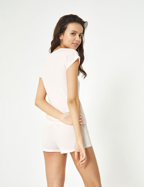 Pale pink pyjama set with text design detail