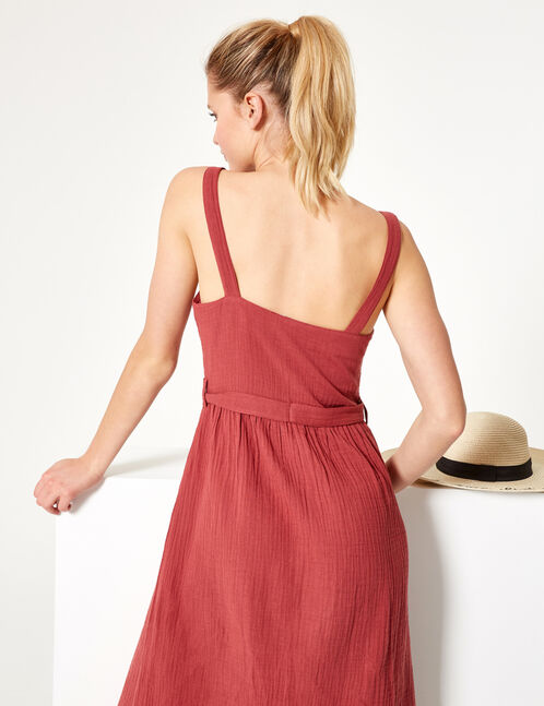 Rust-coloured button-front maxi dress