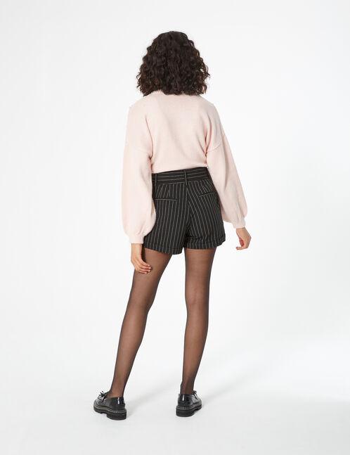 short taille haute rayé