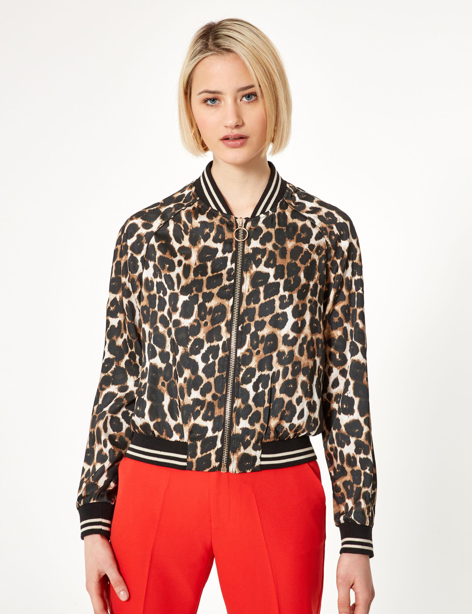 Beige leopard print satin bomber jacket