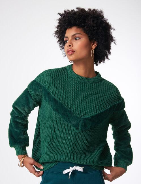 Green mixed fabric jumper