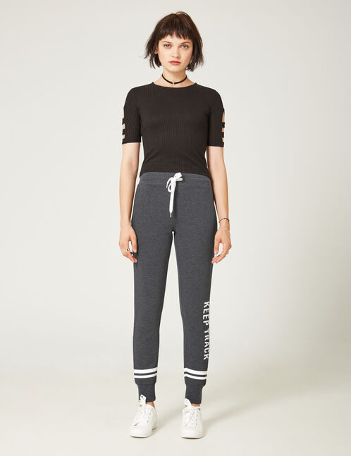 jogging slim keep track gris anthracite chiné