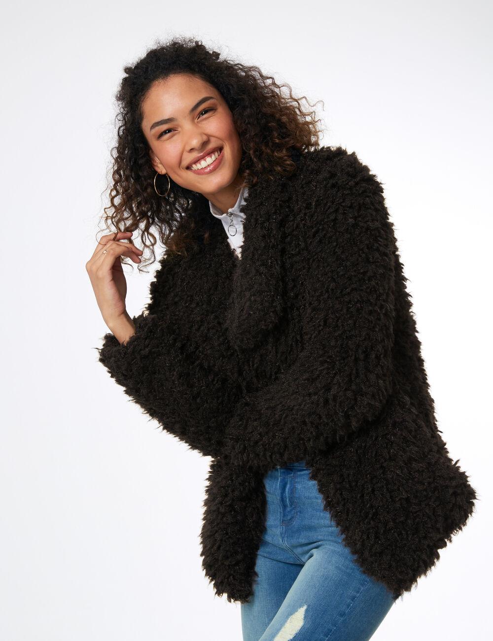 Veste Femme Fourrure Veste Noire Imitation Imitation P5qnwT0