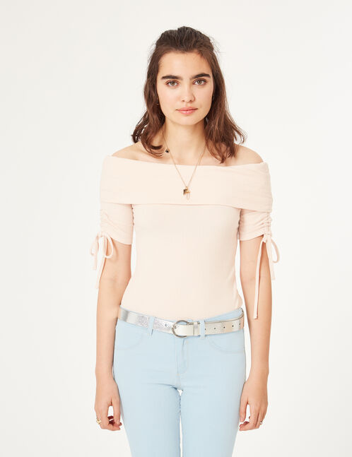 Light pink off-the-shoulder bodysuit