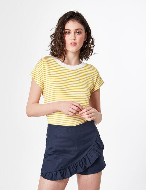 jupe short avec volant bleu marine