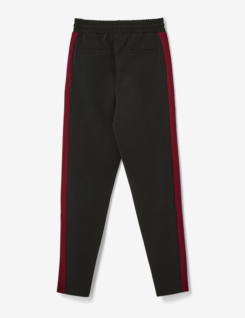 Black and burgundy crêpe joggers