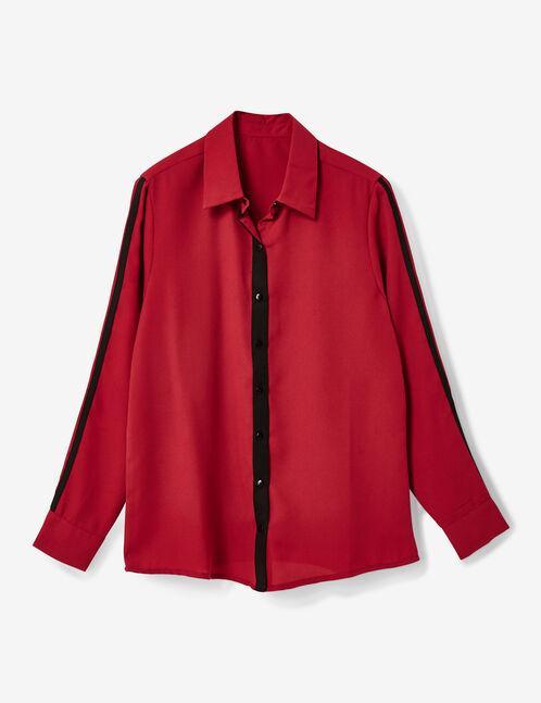 Burgundy shirt with trim detail