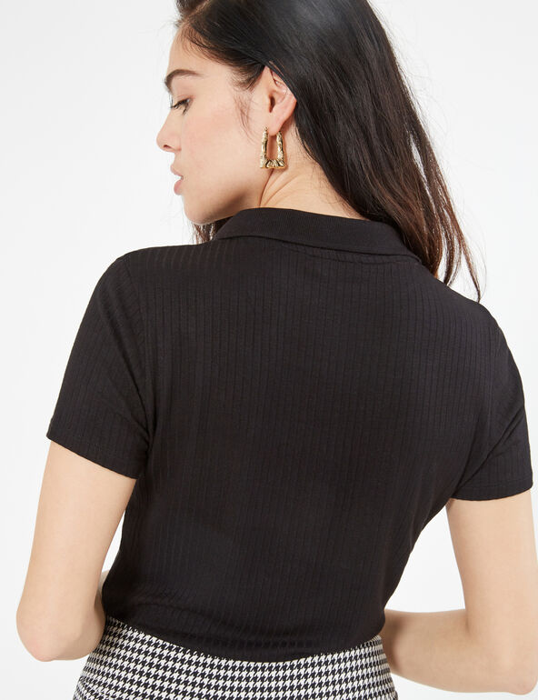 Ribbed  polo with press studs
