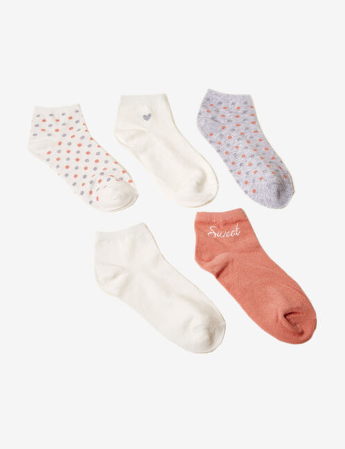 chaussettes à pois écrues, grises et roses