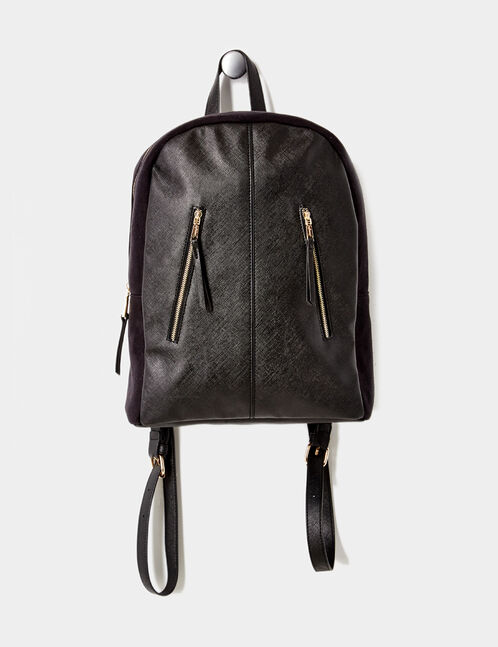 Black mixed fabric backpack