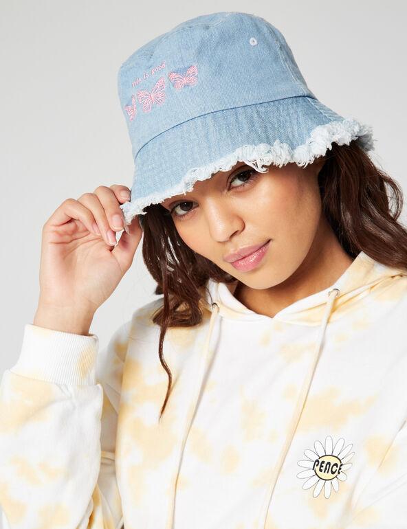 Denim bucket hat with motifs