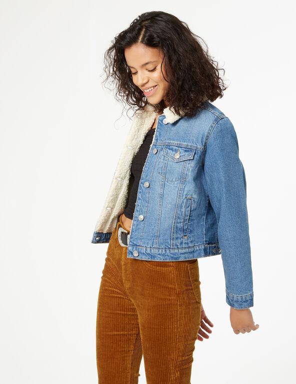 Veste en jean molletonnée
