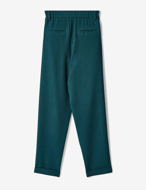 Loose-fit turquoise crêpe trousers