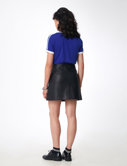 Black faux leather skirt with press-stud detail