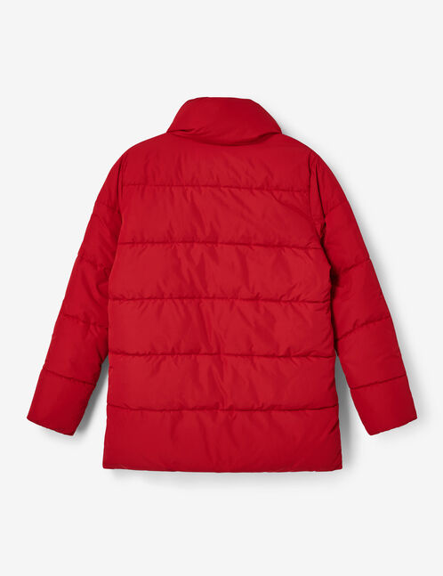 Long red padded jacket