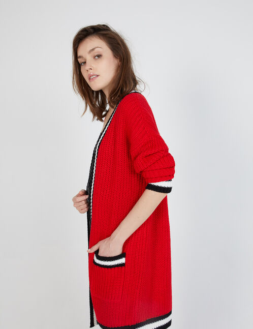 Long red, cream and black cardigan with pockets