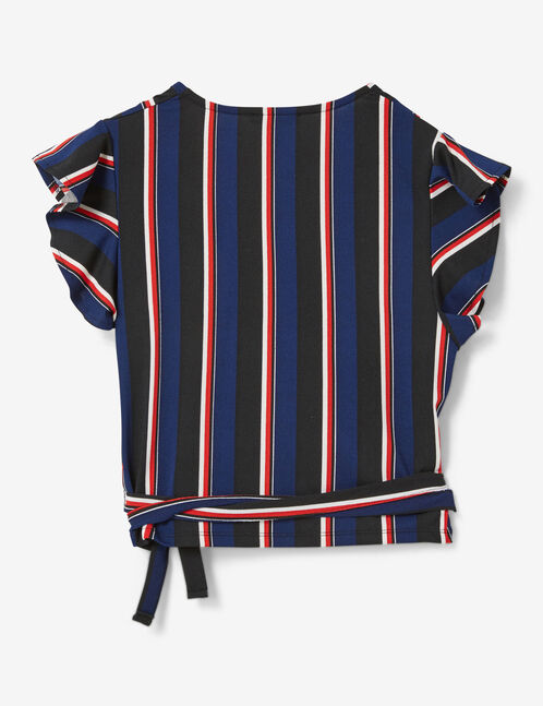 Black, navy blue, red and cream wrap crop top