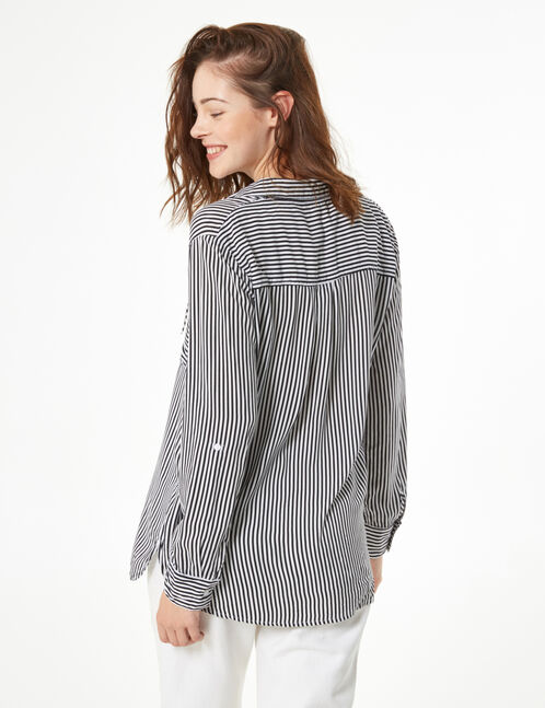 Striped shirt with lacing