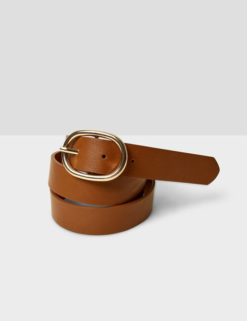 Camel belt with oval buckle detail