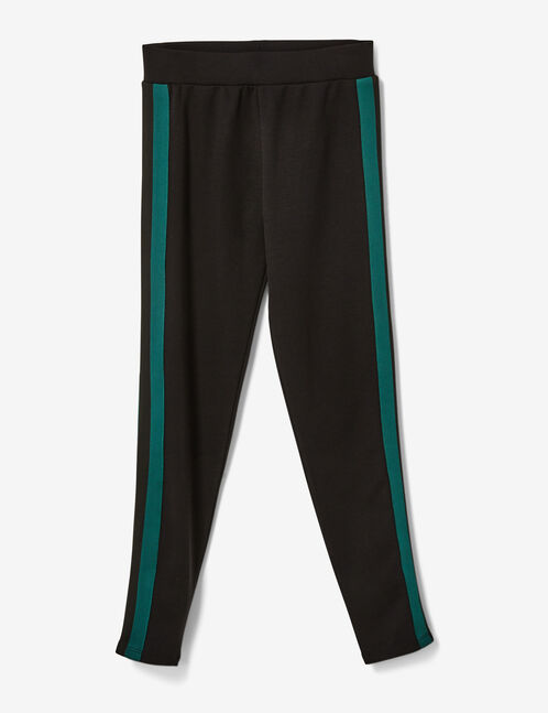 Black and green leggings with side trim detail