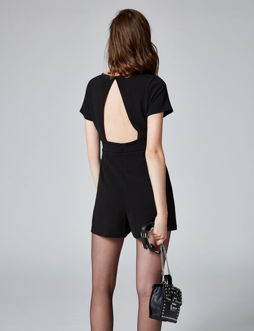 Black V-neck playsuit