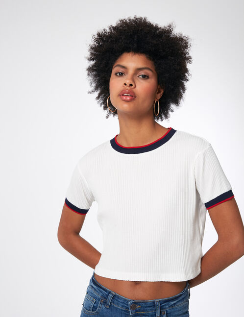 tee-shirt finitions rayées blanc