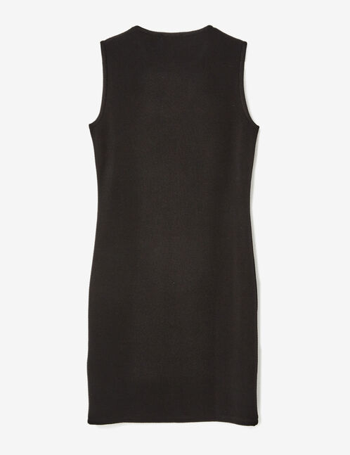 Black fitted dress with open detail
