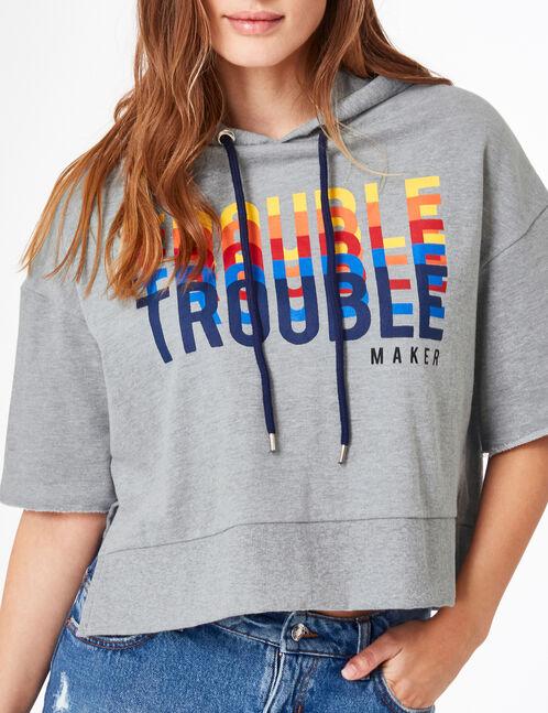 """Grey marl """"troublemaker"""" hoodie"""