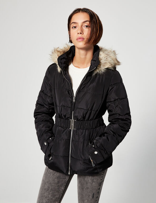 Hooded padded jacket with belt