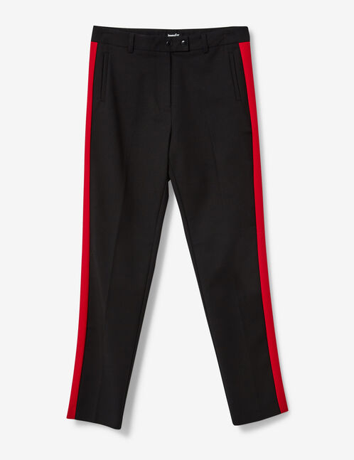 Black and red tailored trousers with stripe detail