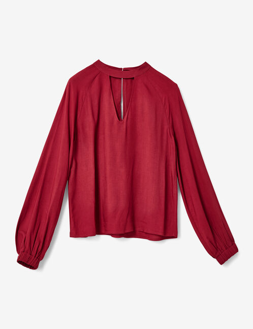 Burgundy blouse with open detail