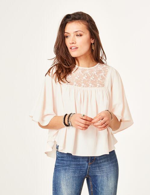 blouse avec dentelle rose clair