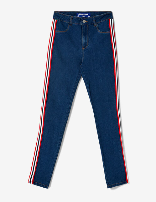 Medium blue, white and red jeggings with trim detail