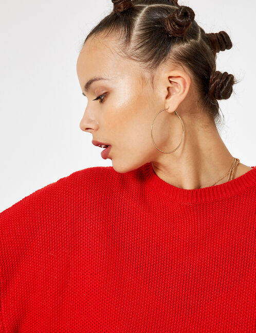 pull loose texturé rouge