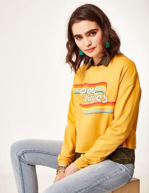 Ochre sweatshirt with text design detail