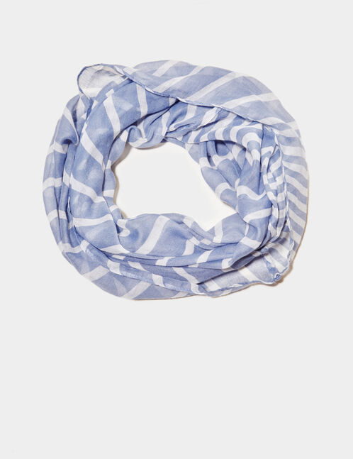 Blue and cream striped snood