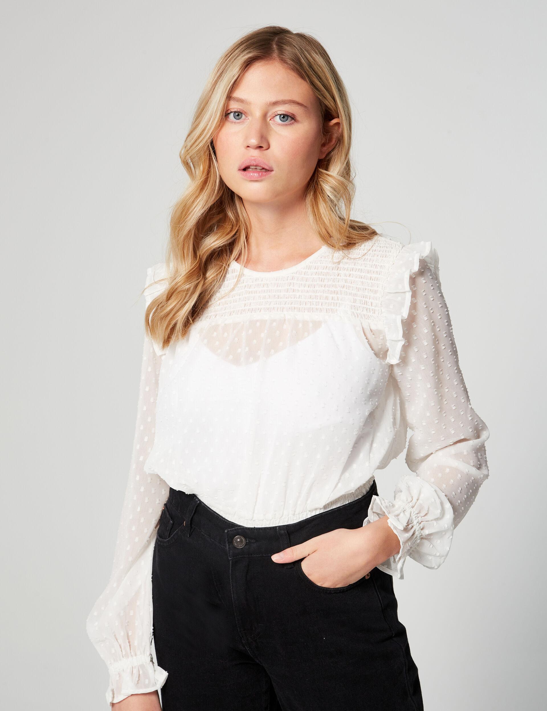 Smocked dobby spot blouse