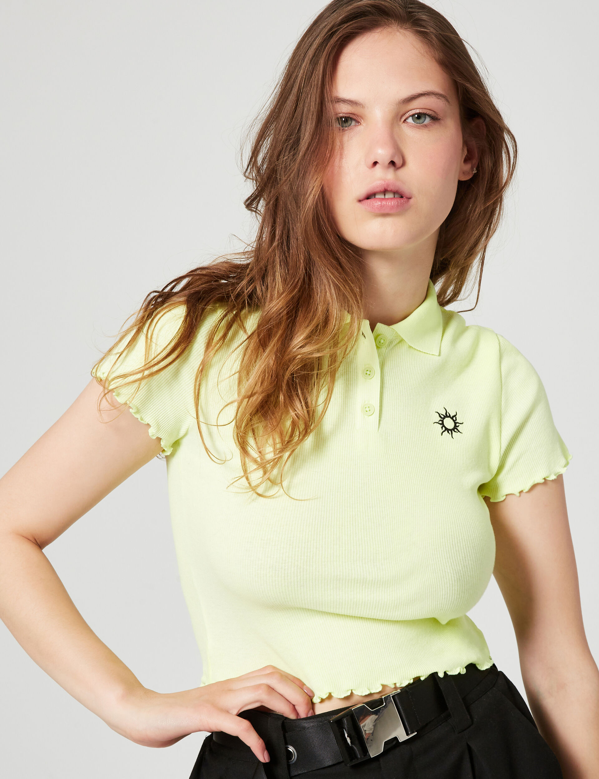 Ribbed polo T-shirt