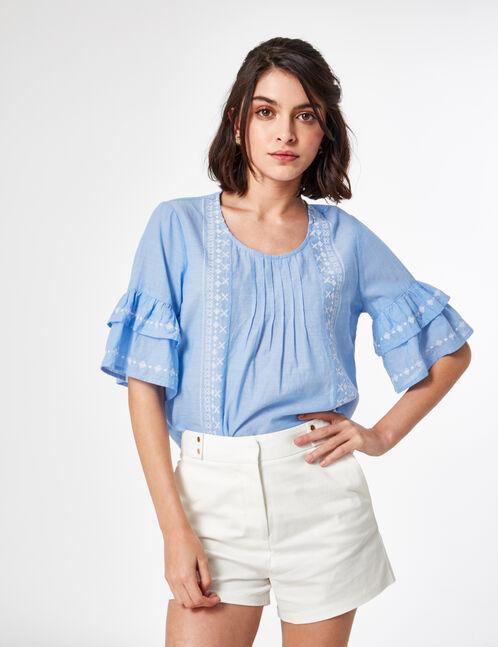blouse avec broderies bleu clair