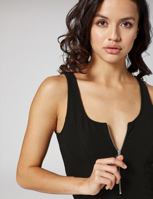 Black textured bodysuit with zip detail