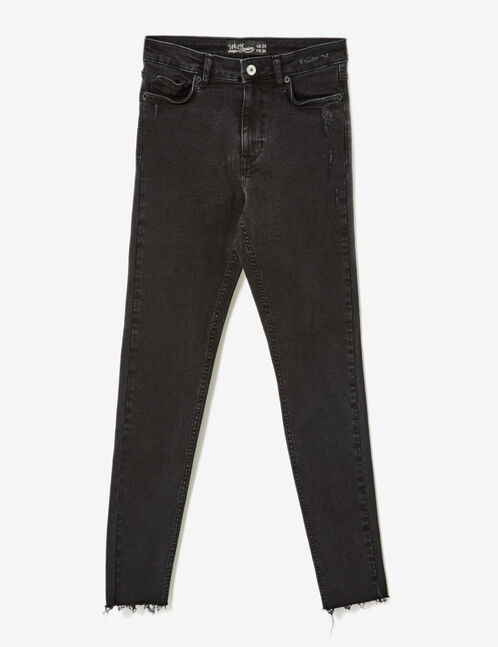 "Black ""follow me"" skinny jeans"