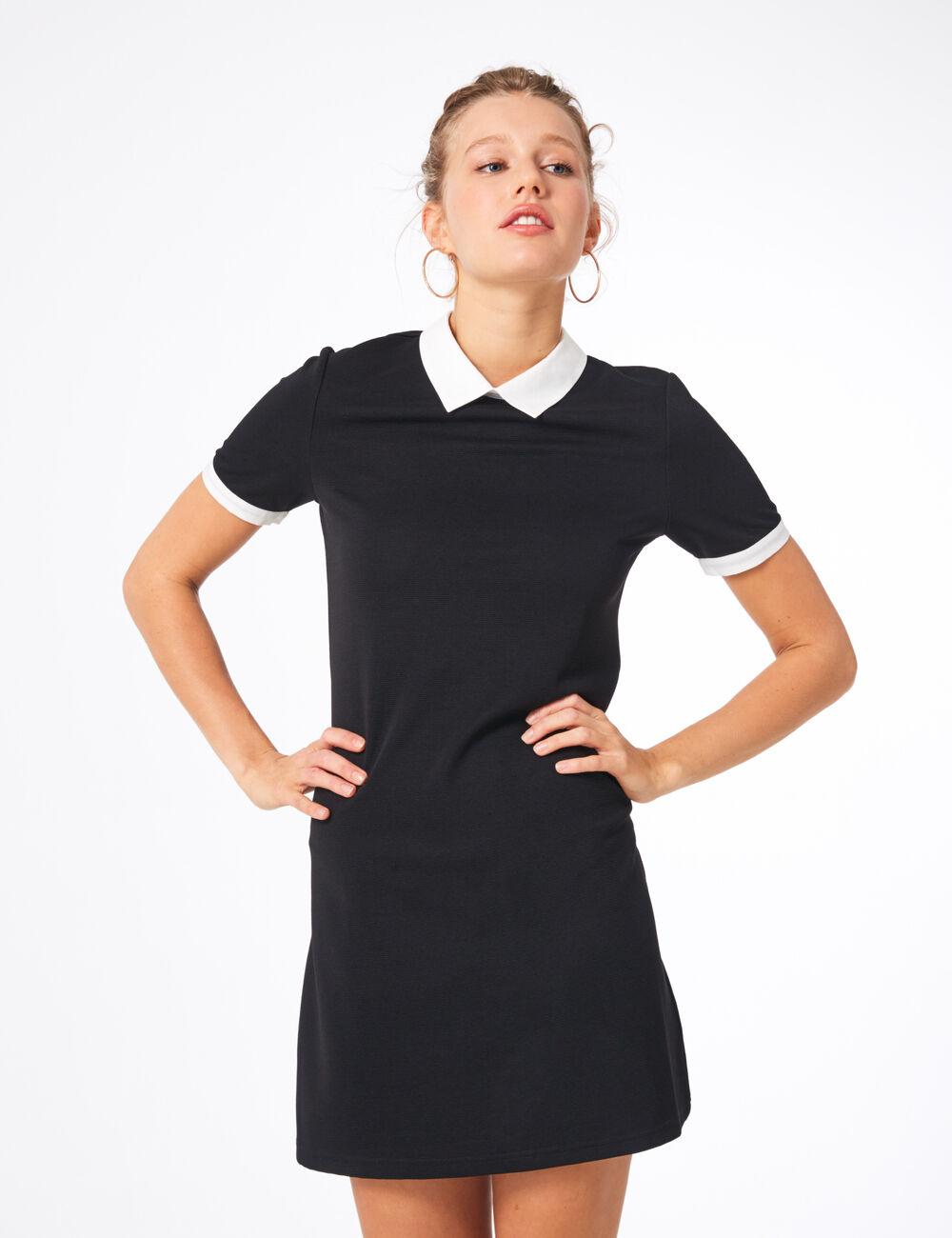 Jennyfer Noire Blanc Col • Femme Robe Avec nHqTPSwPa