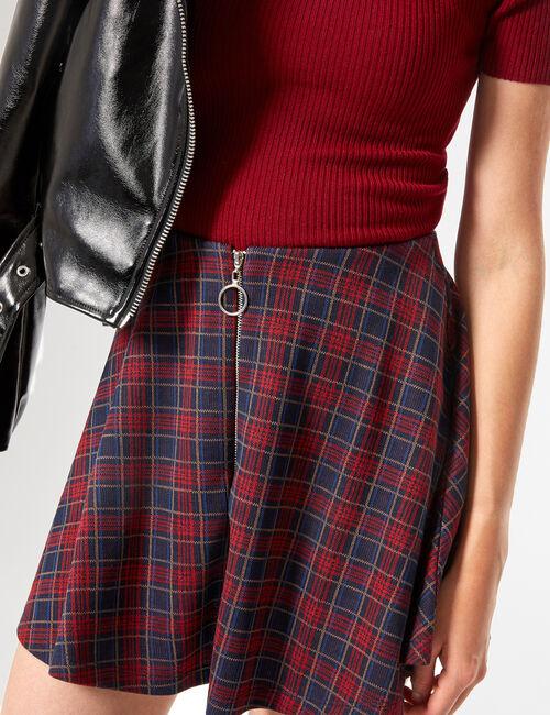 Zipped skater skirt