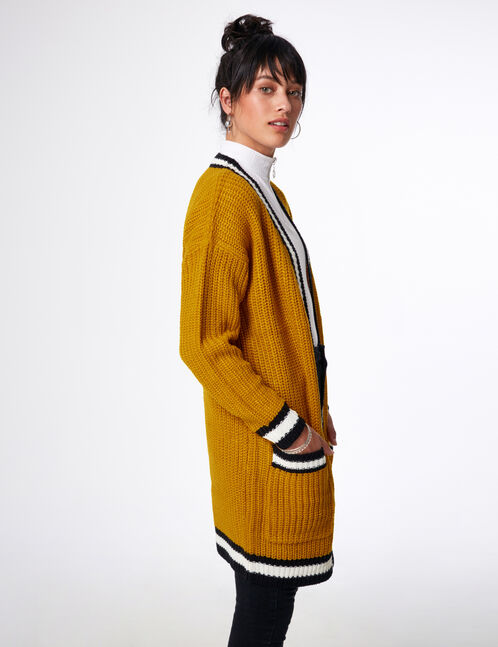 Long ochre cardigan with pockets