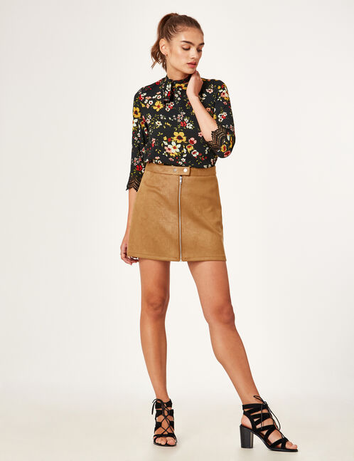 Camel faux suede zipped skirt