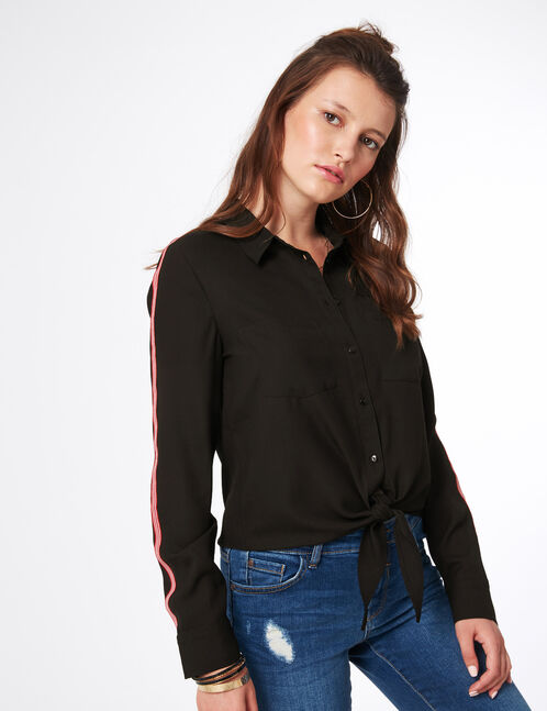 chemise rayures manches noire