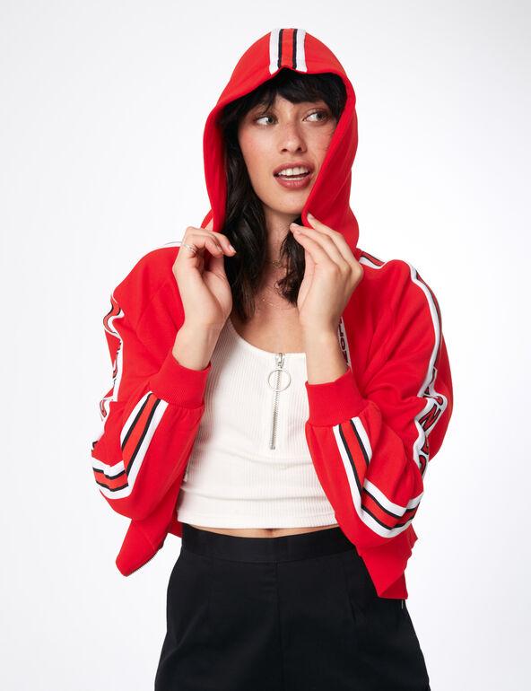 sweat à capuche zippé rouge