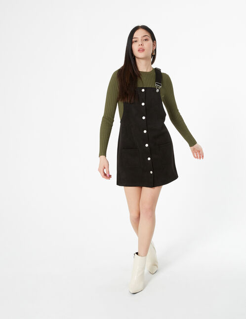tunic dress in faux-suede