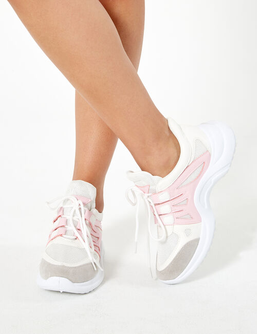White and pink mixed fabric trainers