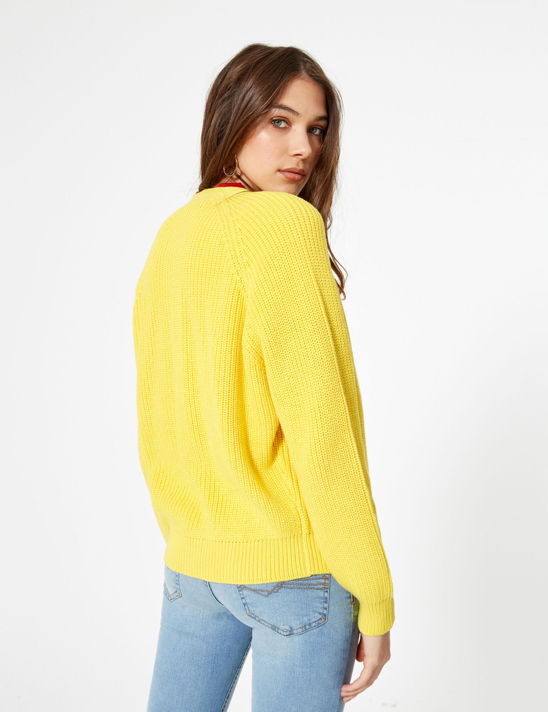 Gilet boutonné jaune